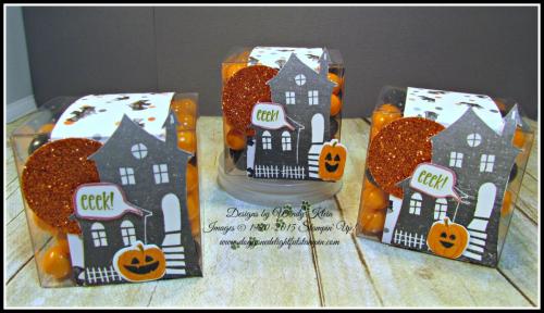 Bakers Box Thinlits, Clear Tiny Treat Boxes, Spooky Fun, Halloween Scares, Halloween Scenes Edgelits, Pumpkin Pie Glimmerr, Halloween Night SDSP, Enamel Dots & Bakers Twine, Mini Tassels (6)