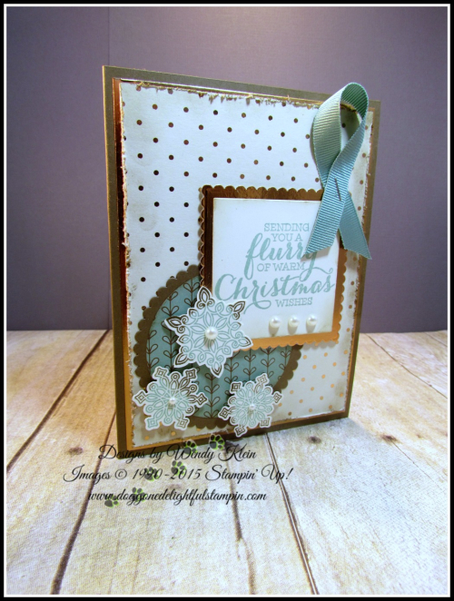 Flurry of Wishes, Snow Flurry Punch, Layering Squares & Circles Framelits, Petals & Paisleys SDSP, Copper Foil (2)