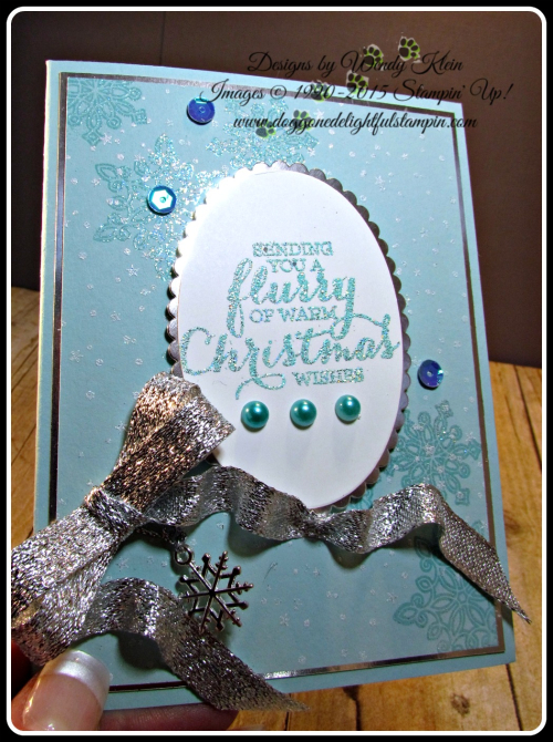 Flurry of Wishes, Holly Jolly Greetings, Layering Ovals, Silver Glitter Ribbon (4)