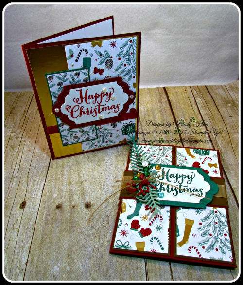 Oh What Fun, Presents & Pinecones DSP, Lots of Labels framelits, Pretty Pines Thinlits, Glitter embossing powder (1)