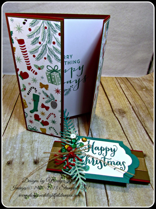 Oh What Fun, Presents & Pinecones DSP, Lots of Labels framelits, Pretty Pines Thinlits, Glitter embossing powder (5)