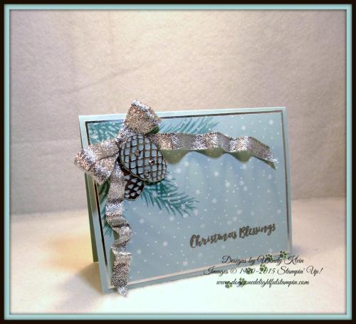 Christmas Pines, Pretty Pines Thinlits, Silver Glitter Ribbon, embossing (1)