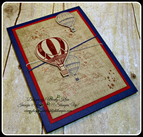 Lift Me Up, Timeless Textures, Up & Away Thinlits, Copper embossing powder, linen thread, Night of Navy bakers twine (4)