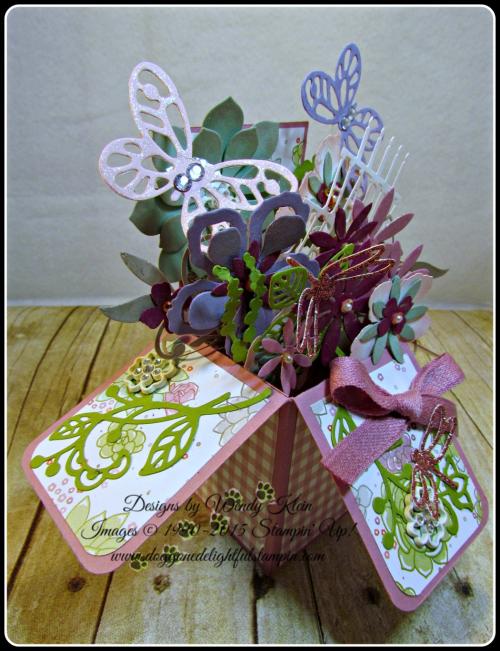 Pop Up Box Card, Succulent Framelits, Botanicals Builder Framelits, Butterfly Framelits, Party Pop-Up Thinlits, Stampin Up, Wendy Klein (5)