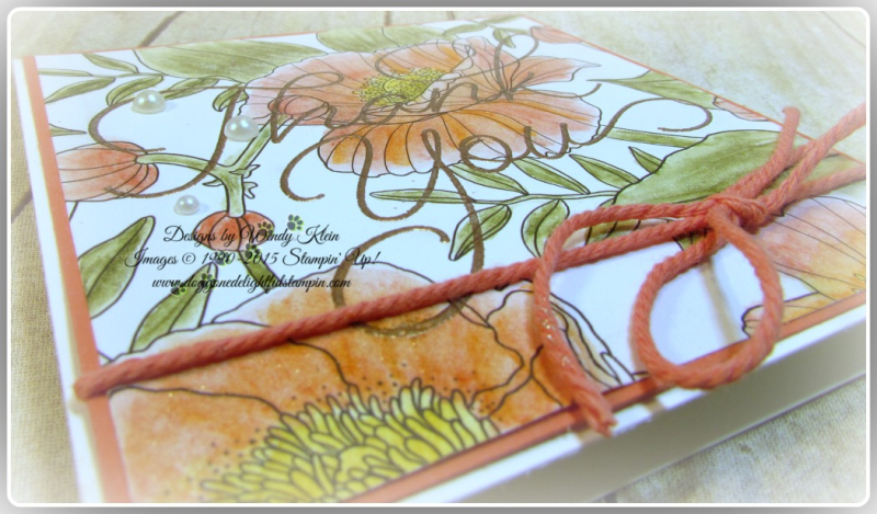 Inside the Lines  So Very Much  Versamark  Watercolor Pencils  AquaPainter  Copper emboss powder  Calypso Coral Bakers Twine  Stampin Up  Wendy Klein (4)