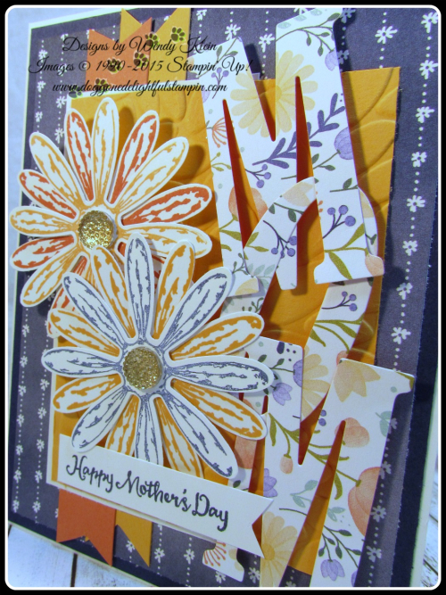 Daisy Delight  Oh So Succulent  Birthday Blossoms  Daisy Punch  Delightful Daisy DSP  Large Letters framelits  Petal Burst TIEF  Gold Faceted Gems (3)