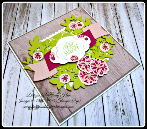 Lovely Friends  Lovely Laurel Thinlits  Fresh Florals DSP  Wood Textures DSP  Layering Squares  Stitched Shapes  Pretty Label Punch  In Color (3)