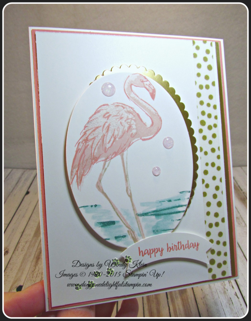 Fabulous Flamingo  Happy Birthday Gorgeous  Layering Ovals framelits  Duet Banner Punch  Glitter Enamel Dots (7)