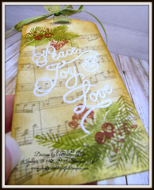 Peace this Christmas  Sheet Music  Inka Gold  Scalloped Tag Topper Punch  Old Olive Ribbon  White embossing powder - 2