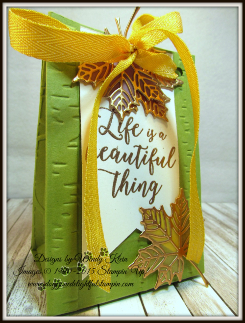 Colorful Seasons  Seasonal Layers Thinlits  Woodland TIEF  Bag Punch Board  Banner Triple Punch  Crushed Curry Mini Chevron Ribbon  Copper - 2