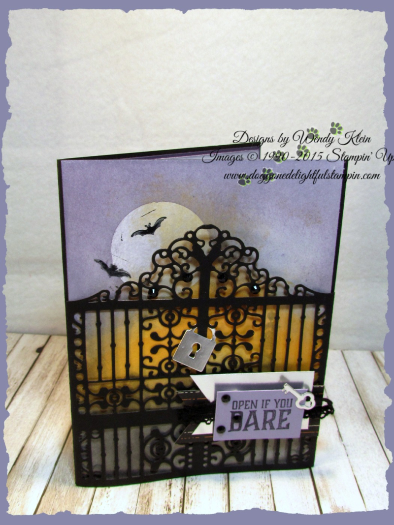 Graveyard Gate  Detailed Gate Thinlits  Glossy White Cardstock  Black Rhinestones  Vintage Crochet Ribbon - 2