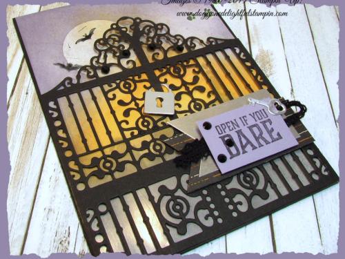 Graveyard Gate  Detailed Gate Thinlits  Glossy White Cardstock  Black Rhinestones  Vintage Crochet Ribbon - 4