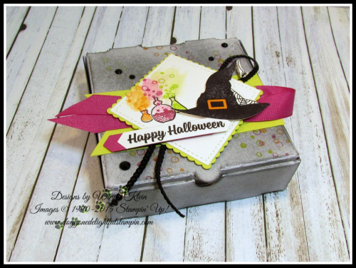 Pizza Box  Spooky Cat  Classic Label Punch  Banner Triple Punch  Stitched Shapes  Layering Squares  Berry Burst Finely Wovan Ribbon  Mini Black Sequins  Black Rhinestones - 1