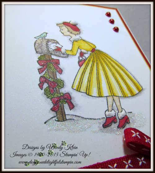 Christmas In the Making  Stampin' Blends  Cherry Cobbler Double-Stitched ribbon  Pearls - 3