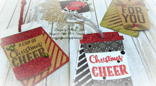 Merry Cafe  Coffee Ups Framelits  Celebration Thinlits  Seasonal Tags  Kraft  Red Glimmer  Foil Snowflakes  Black Rhinestones  Pearls - 2