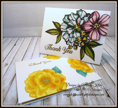 Bold Floral Thank You Card Set - designs by Wendy Klein for Doggone Delightful Stampin - 1