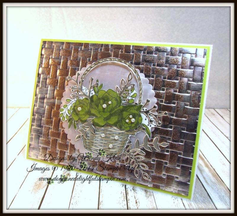 Blossoming Basket  Basket Weave Dynamic TIEF  Stampin' Blends  Sweet Cake Framelits  Champagne Foil - 5