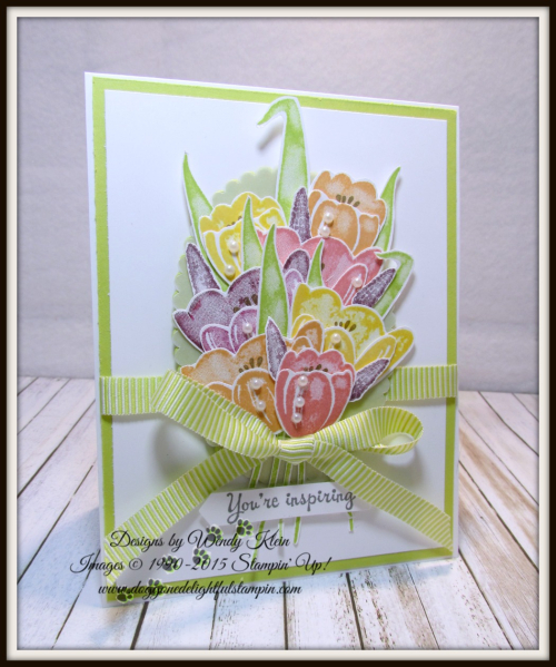 Tranquil Tulips  Layering Ovals  Lemon Lime Twist Mini Striped Ribbon  Vellum  Pearls - 1