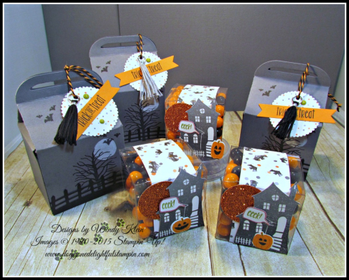 Bakers Box Thinlits, Clear Tiny Treat Boxes, Spooky Fun, Halloween Scares, Halloween Scenes Edgelits, Pumpkin Pie Glimmerr, Halloween Night SDSP, Enamel Dots & Bakers Twine, Mini Tassels (1)
