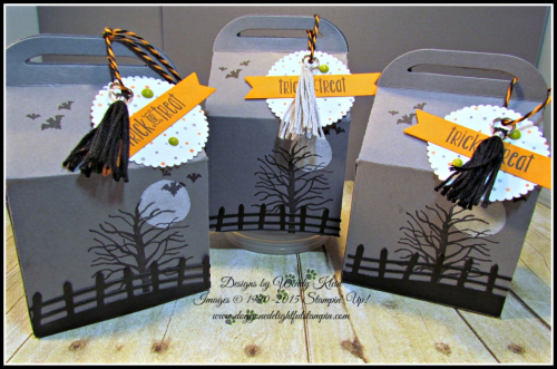Bakers Box Thinlits, Clear Tiny Treat Boxes, Spooky Fun, Halloween Scares, Halloween Scenes Edgelits, Pumpkin Pie Glimmerr, Halloween Night SDSP, Enamel Dots & Bakers Twine, Mini Tassels (4)