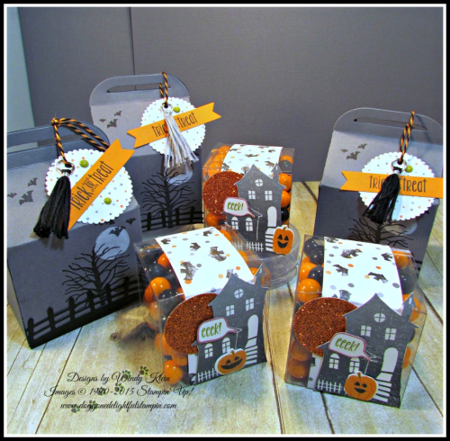 Bakers Box Thinlits, Clear Tiny Treat Boxes, Spooky Fun, Halloween Scares, Halloween Scenes Edgelits, Pumpkin Pie Glimmerr, Halloween Night SDSP, Enamel Dots & Bakers Twine, Mini Tassels (3)