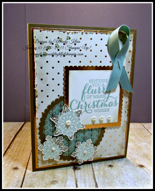 Flurry of Wishes, Snow Flurry Punch, Layering Squares & Circles Framelits, Petals & Paisleys SDSP, Copper Foil (3)