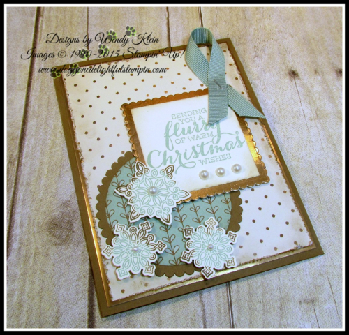 Flurry of Wishes, Snow Flurry Punch, Layering Squares & Circles Framelits, Petals & Paisleys SDSP, Copper Foil (4)