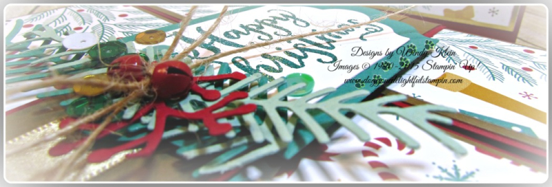 Oh What Fun, Presents & Pinecones DSP, Lots of Labels framelits, Pretty Pines Thinlits, Glitter embossing powder (8)