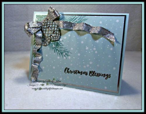 Christmas Pines, Pretty Pines Thinlits, Silver Glitter Ribbon, embossing (3)
