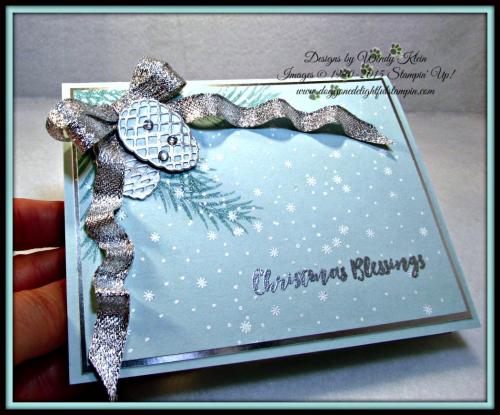 Christmas Pines, Pretty Pines Thinlits, Silver Glitter Ribbon, embossing (5)