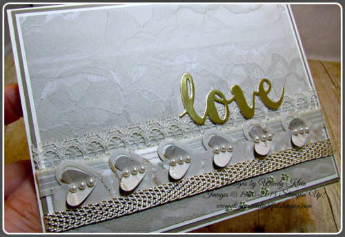 Falling In Love DSP, Sunshine Wishes Thinlits, Love Notes Framelits, Very Vanilla Lace Trim, Stitched Satin Ribbon, and Metallic Ribbon (5)