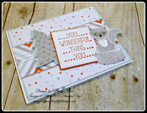 Foxy Friends, Suite Sayings, A Little Foxy DSP, Stitched Shapes Framelits, Layering Squares framelits, Perfect Pines framelits, Fox Builder Punch, Stampin Up, Wendy Klein (4)