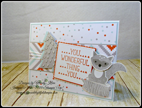 Foxy Friends, Suite Sayings, A Little Foxy DSP, Stitched Shapes Framelits, Layering Squares framelits, Perfect Pines framelits, Fox Builder Punch, Stampin Up, Wendy Klein (2)