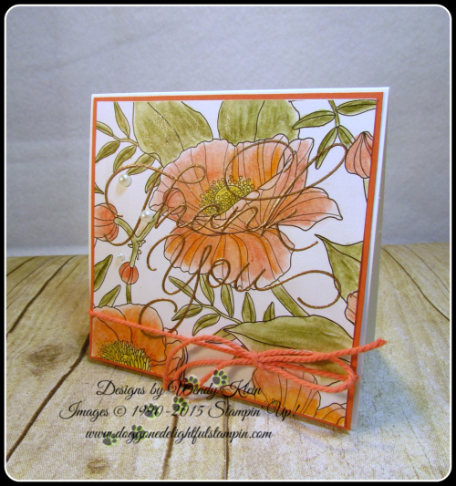 Inside the Lines  So Very Much  Versamark  Watercolor Pencils  AquaPainter  Copper emboss powder  Calypso Coral Bakers Twine  Stampin Up  Wendy Klein (2)