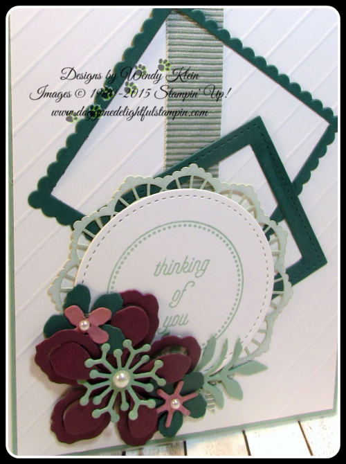 Botanical Builder Framelits  That's the Tag  Stitched Shapes Framelits  Layering Squares Framelits  Mint Macaron Mini Striped Ribbon  Lace Doilies  Pearls (3)