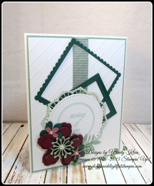 Botanical Builder Framelits  That's the Tag  Stitched Shapes Framelits  Layering Squares Framelits  Mint Macaron Mini Striped Ribbon  Lace Doilies  Pearls (6)