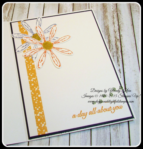 Daisy Delight  Oh So Succulent  Birthday Blossoms  Daisy Punch  Delightful Daisy DSP  Large Letters framelits  Petal Burst TIEF  Gold Faceted Gems (7)