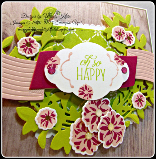 Lovely Friends  Lovely Laurel Thinlits  Fresh Florals DSP  Wood Textures DSP  Layering Squares  Stitched Shapes  Pretty Label Punch  In Color (2)