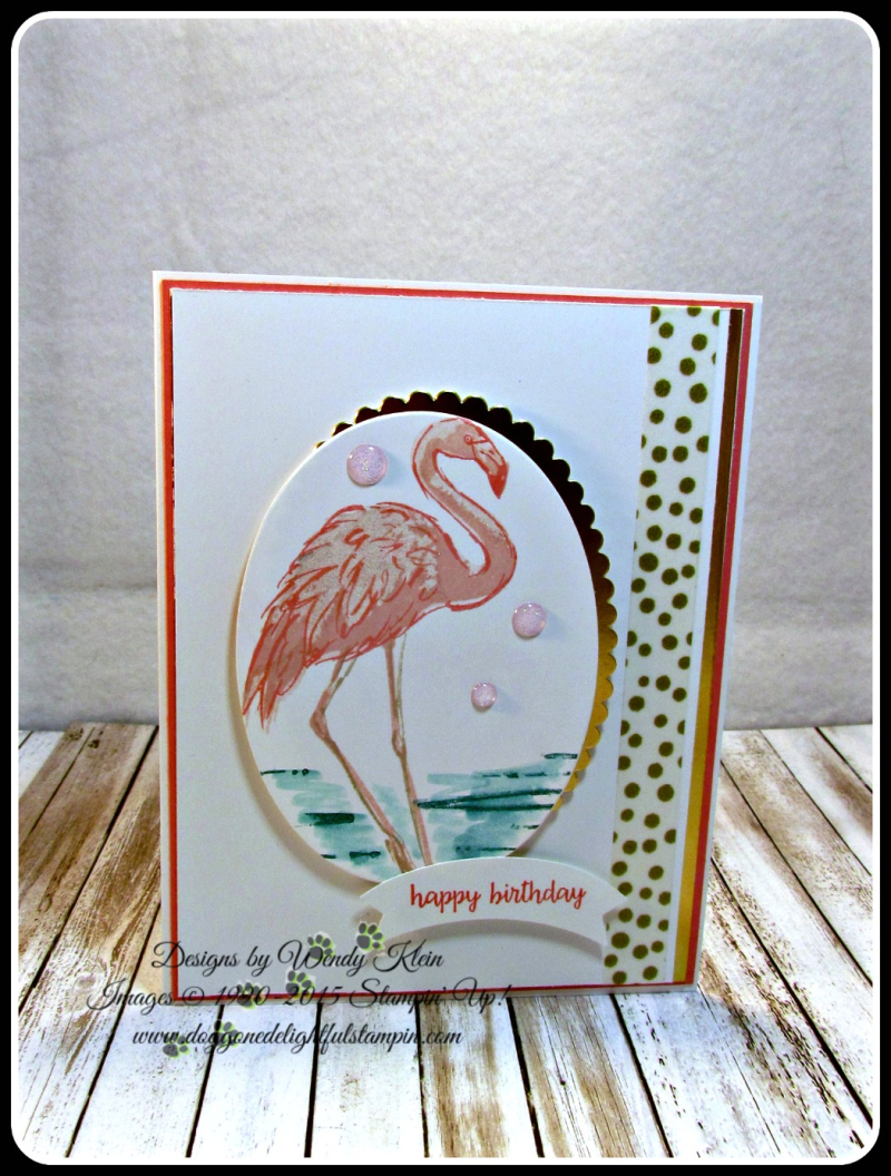 Fabulous Flamingo  Happy Birthday Gorgeous  Layering Ovals framelits  Duet Banner Punch  Glitter Enamel Dots (1)