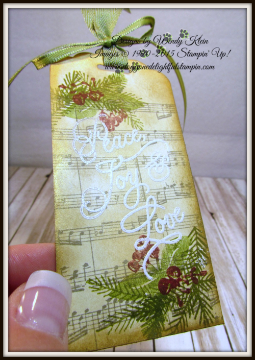 Peace this Christmas  Sheet Music  Inka Gold  Scalloped Tag Topper Punch  Old Olive Ribbon  White embossing powder - 1