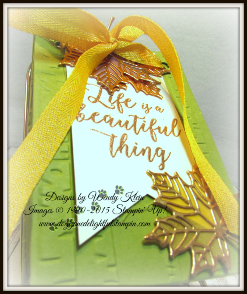 Colorful Seasons  Seasonal Layers Thinlits  Woodland TIEF  Bag Punch Board  Banner Triple Punch  Crushed Curry Mini Chevron Ribbon  Copper - 5