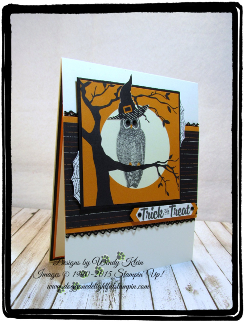 Spooky Cat  Spooky Night DSP  Classic Label Punch  Black Rhinestones  Vintage Crochet Trim - 1
