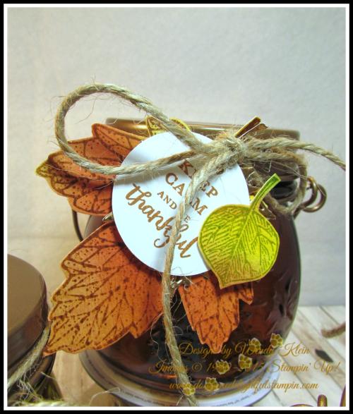 Tealite Jar  Vintage Leaves  Layered Leaves  Jute - 4