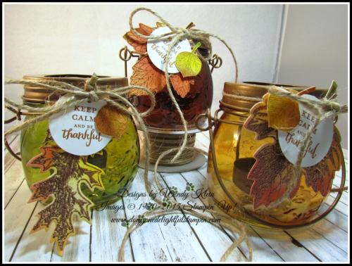 Tealite Jar  Vintage Leaves  Layered Leaves  Jute - 2