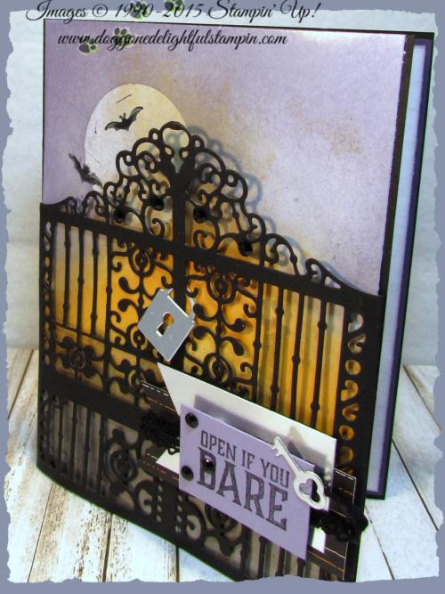 Graveyard Gate  Detailed Gate Thinlits  Glossy White Cardstock  Black Rhinestones  Vintage Crochet Ribbon - 3