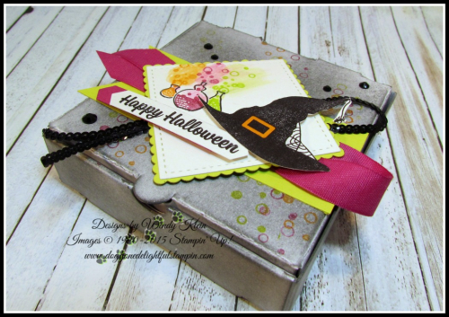 Pizza Box  Spooky Cat  Classic Label Punch  Banner Triple Punch  Stitched Shapes  Layering Squares  Berry Burst Finely Wovan Ribbon  Mini Black Sequins  Black Rhinestones - 4
