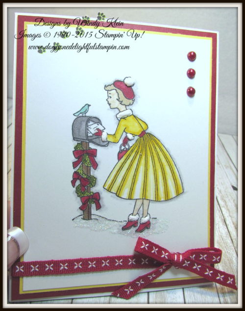 Christmas In the Making  Stampin' Blends  Cherry Cobbler Double-Stitched ribbon  Pearls - 4