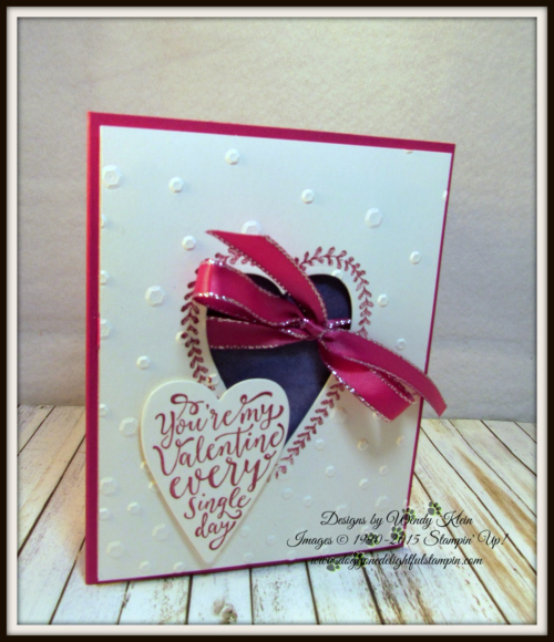 Sure Do Love You  Brusho Crystals  Lots to Love Box Framelits  Scattered Sequins Dynamic TIEF  Berry Burst Metallic-Edge Ribbon - 1
