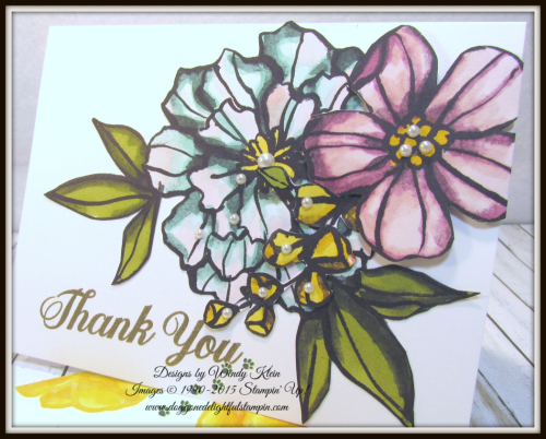 Bold Floral Thank You Card Set - designs by Wendy Klein for Doggone Delightful Stampin - 2