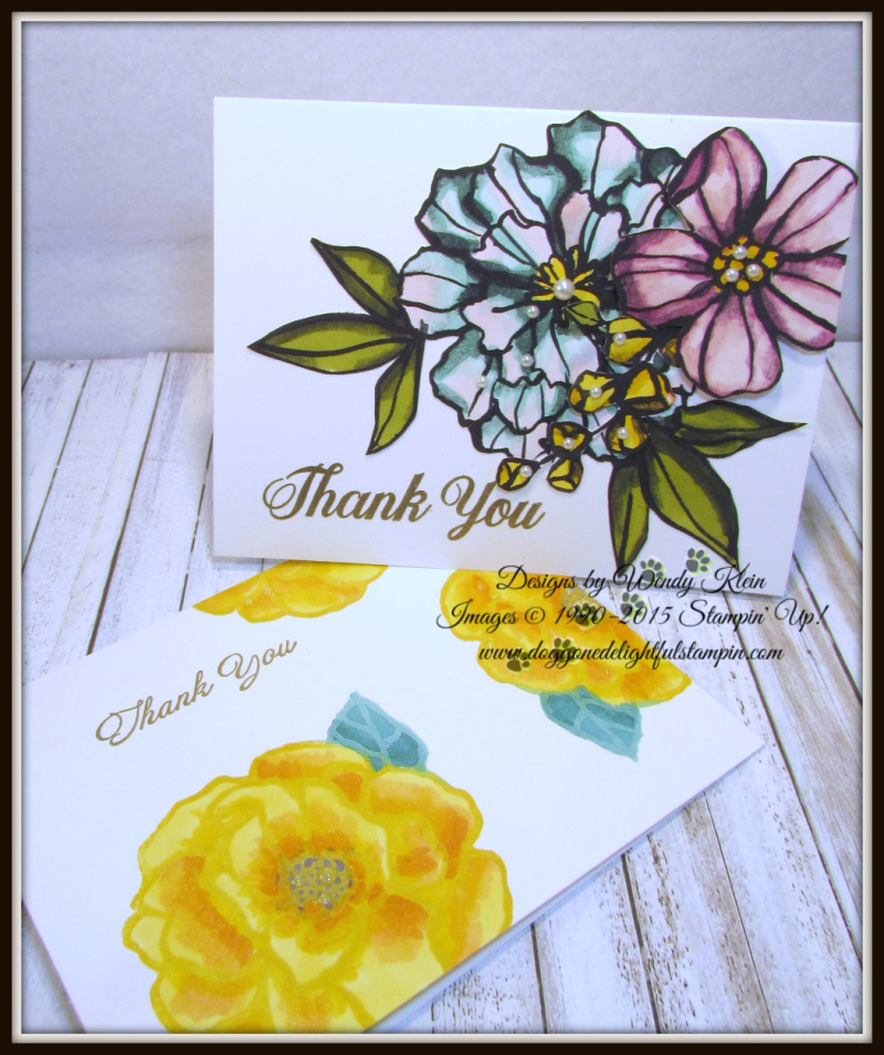 Bold Floral Thank You Card Set - designs by Wendy Klein for Doggone Delightful Stampin - 5